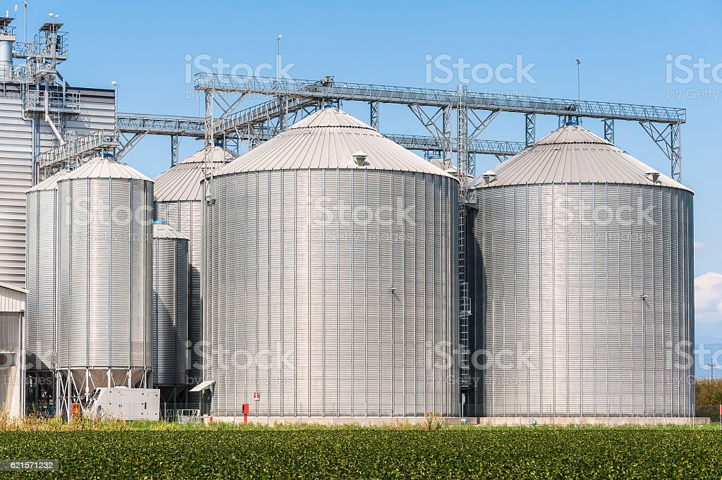 Storage silos for agricultural (cereal) products photo libre de droits