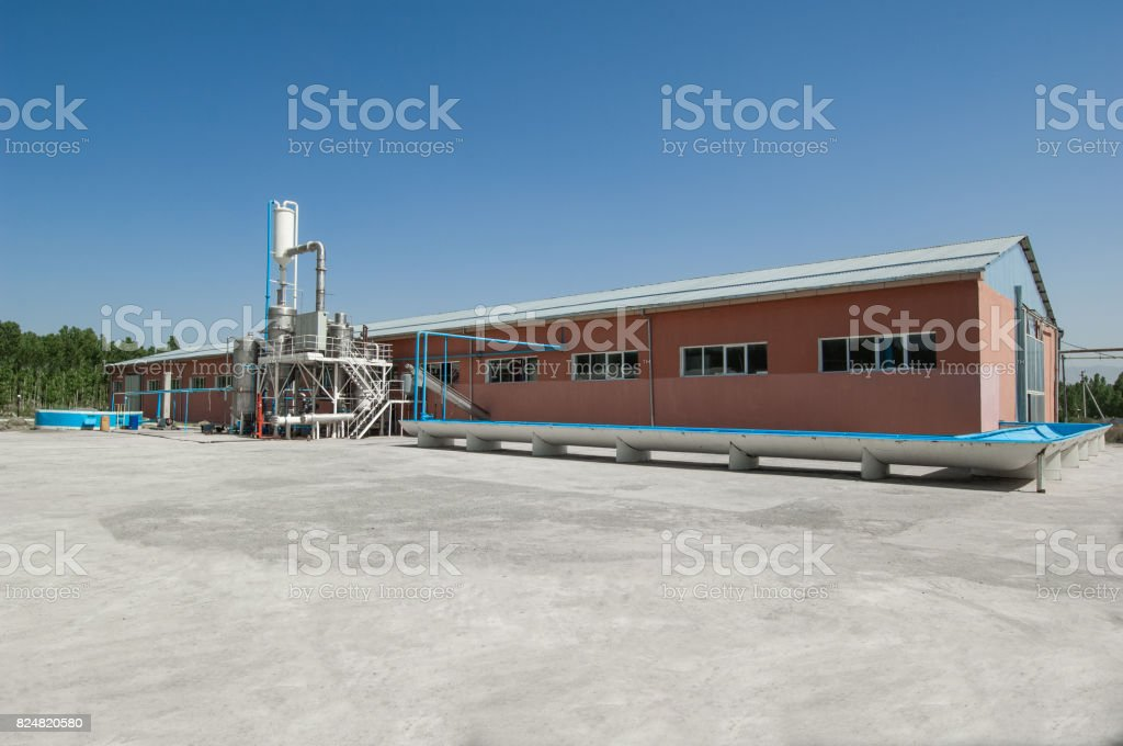 storage tank and building stock photo