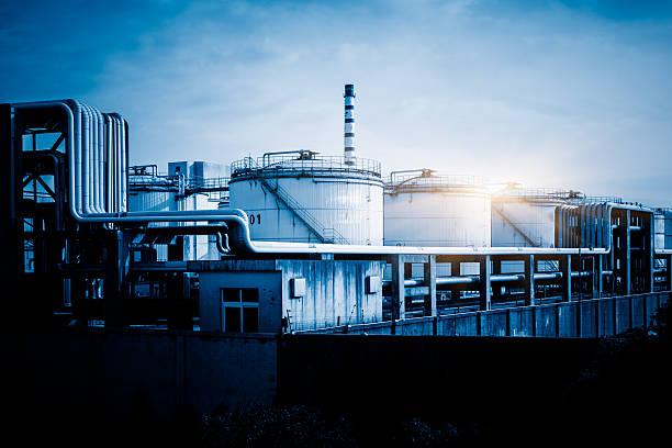 storage tanks and pipelines stock photo
