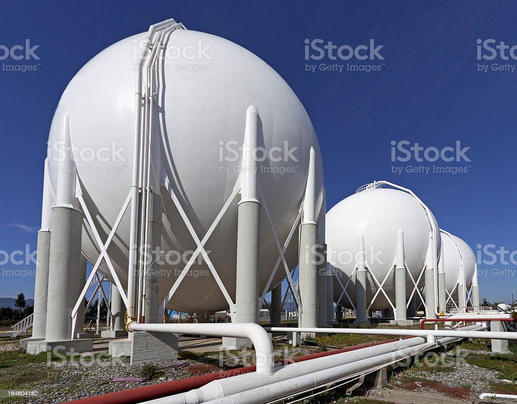 Storage tanks at a petrochemical plant stock photo