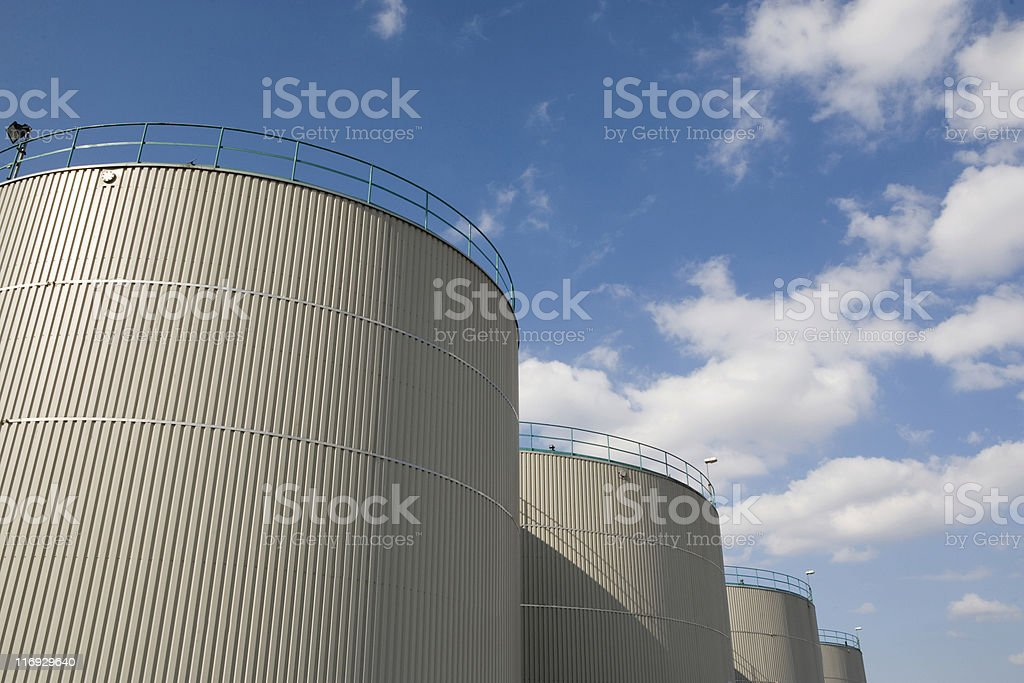 storage tanks at a refinery royalty-free stock photo