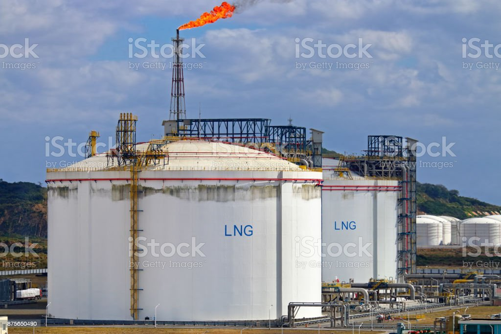 LNG storage tanks at regasification terminal stock photo