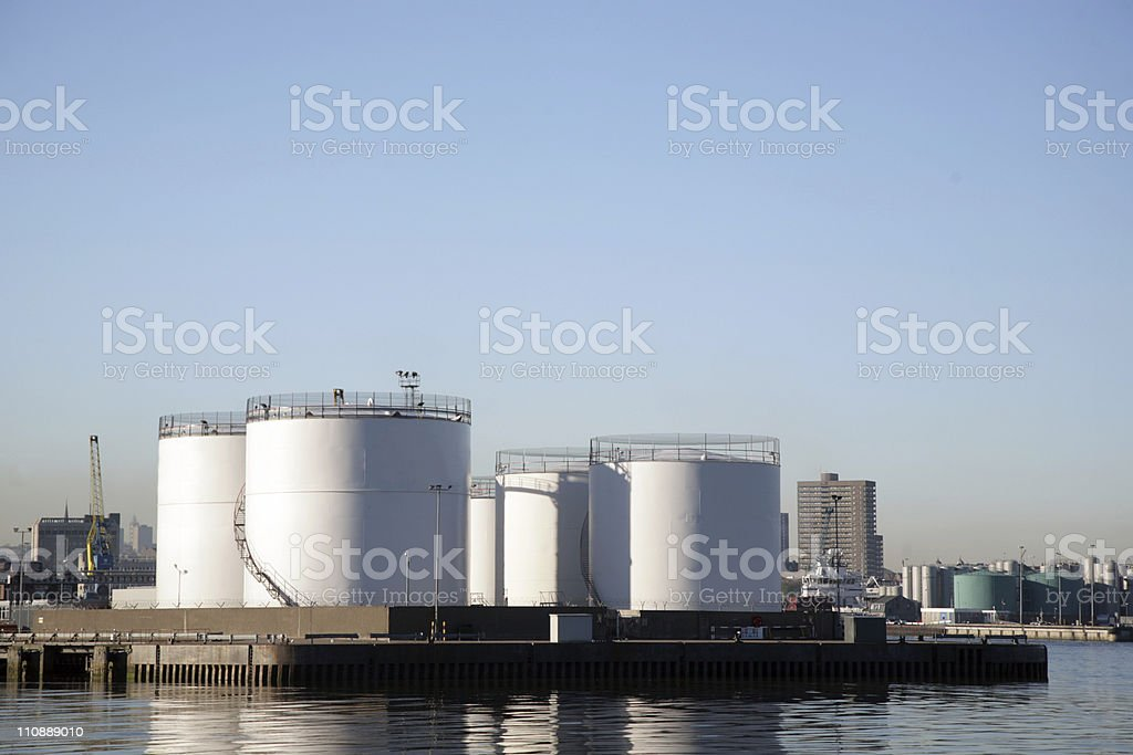 Storage tanks in Aberdeen Harbour royalty-free stock photo