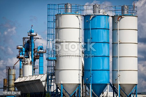 Storage tanks in concrete factory, Germany