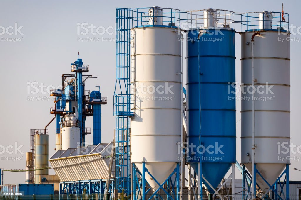 Storage tanks in concrete factory, Poland royalty-free stock photo