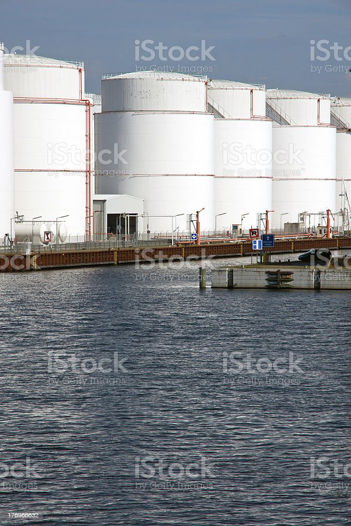 Storage tanks in the harbour royalty-free stock photo