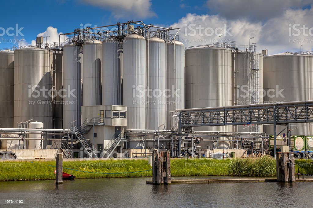 Storage tanks industrial background stock photo