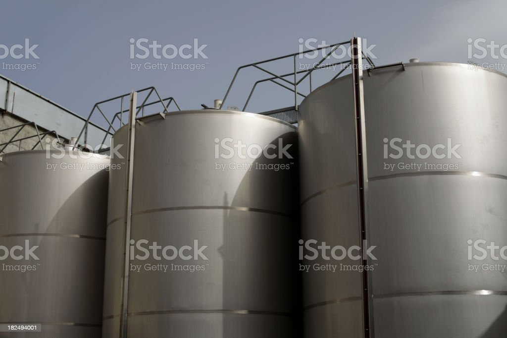 Storage Tanks of a Wine Bottling Plant royalty-free stock photo