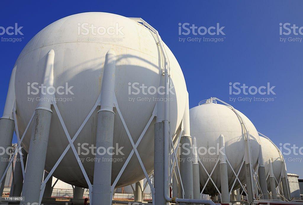Storage Tanks on Petrochemical Plant stock photo