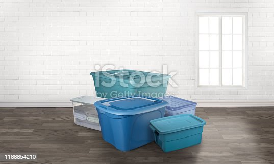 storage tote boxes in an empty room with a window