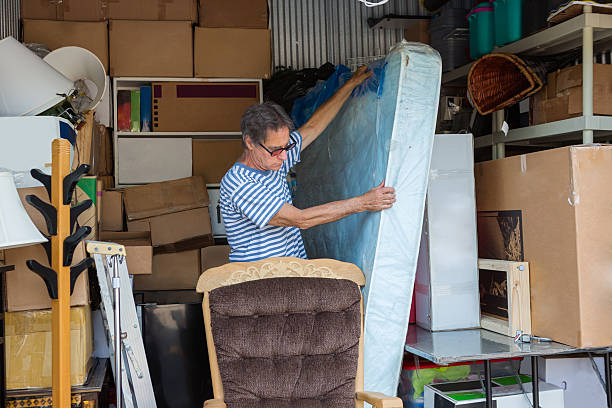 Storage warehouse holding the contents of a house stock photo