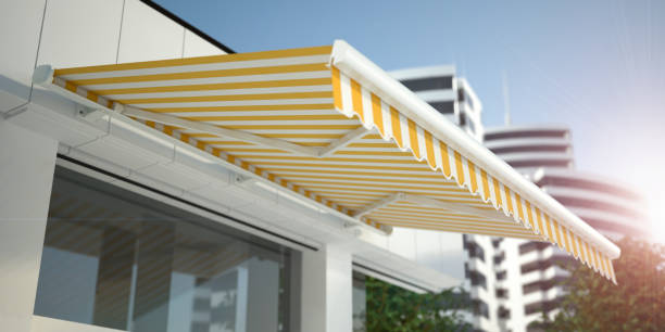 Store and Awning - white background 3d illustration canopy stock pictures, royalty-free photos & images