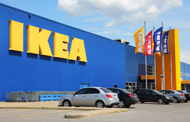 IKEA Store Building and Flags stock photo