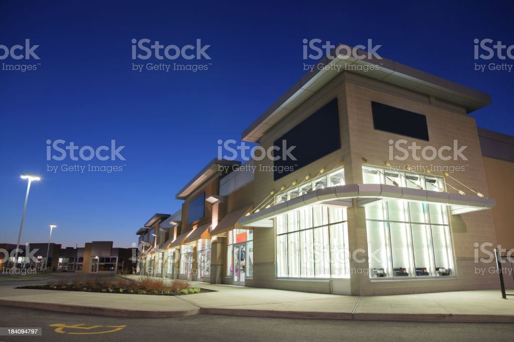 Store Building Exteriors at Sunset royalty-free stock photo