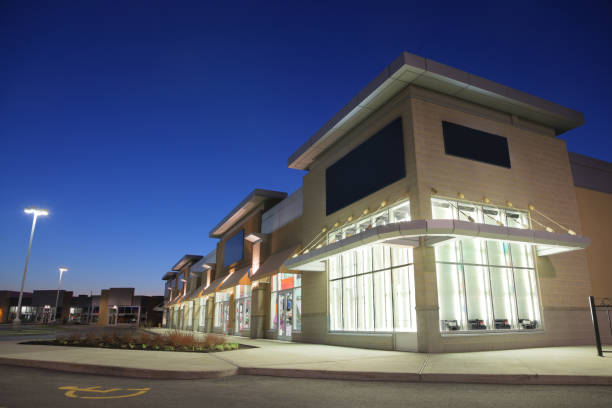 Store Building Exteriors at Sunset stock photo