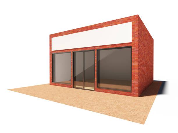 edifício da loja - facade shop 3d - fotografias e filmes do acervo