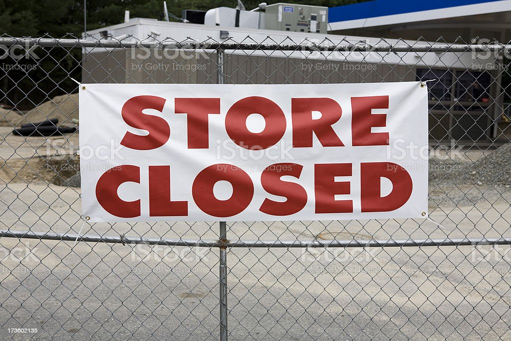Store Closed Sign during Economic Meltdown stock photo