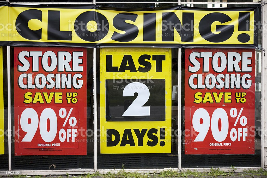 Store closing, last 2 days stock photo