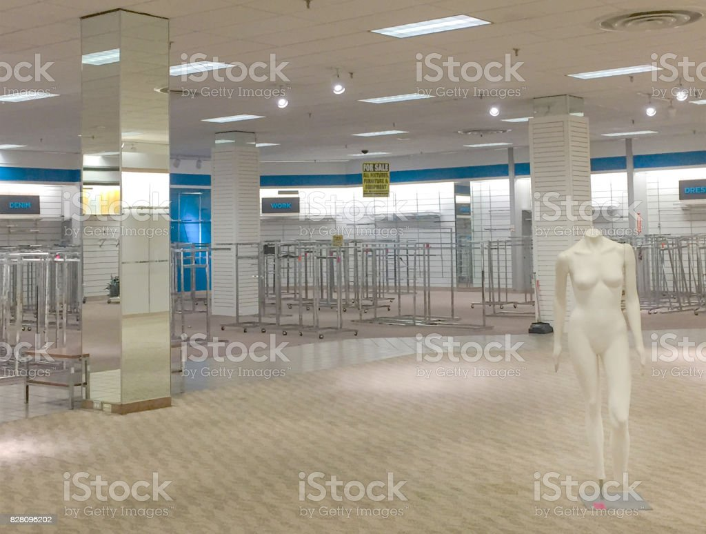Store closing mannequin sale stock photo