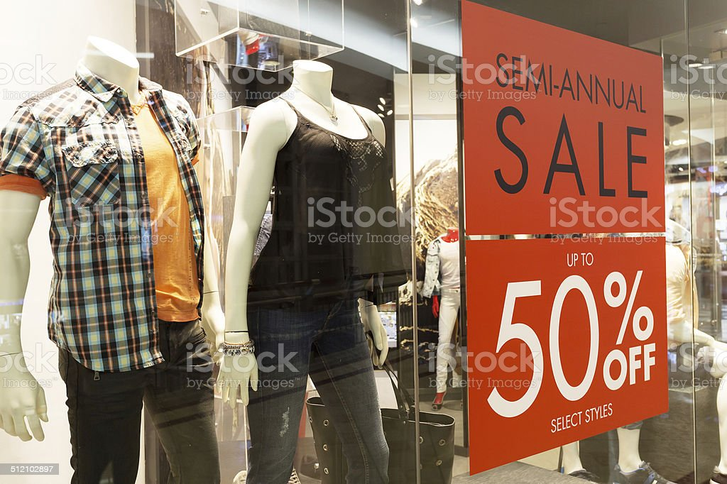 store discount sign stock photo