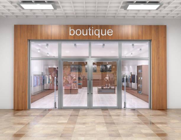 Shop von außen in der Mall. 3D illustration – Foto
