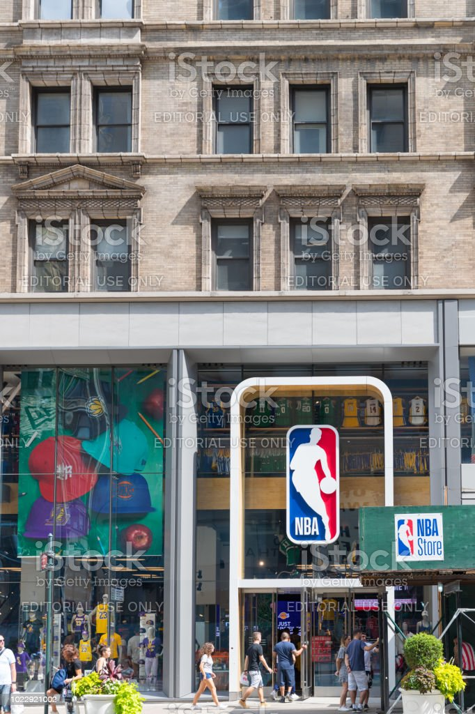NBA store front in New York stock photo