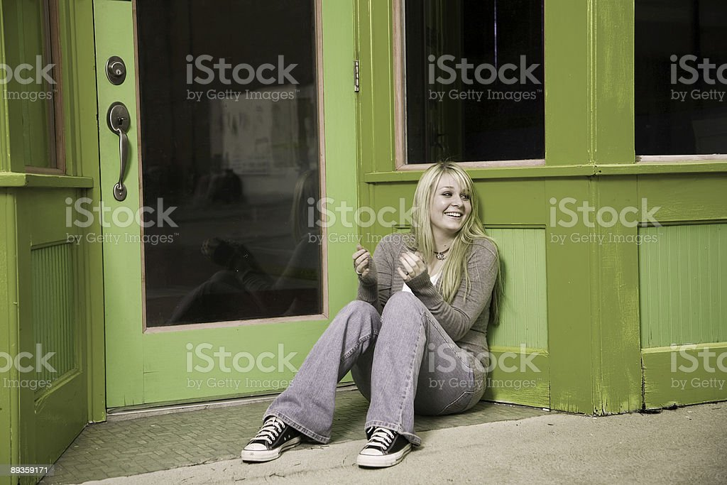 store front scenes - teenage girl royalty-free stock photo