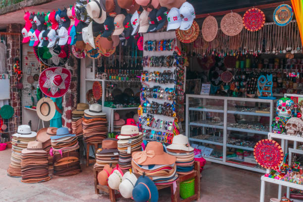 Store full of Mexican souvenirs stock photo