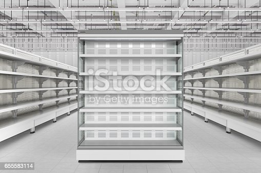 istock Store interior with empty refrigerator display. 655583114