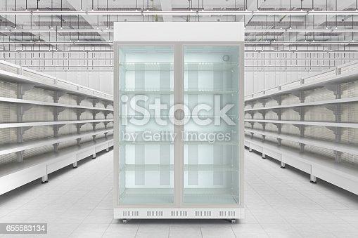 istock Store interior with empty refrigerator display. 655583134