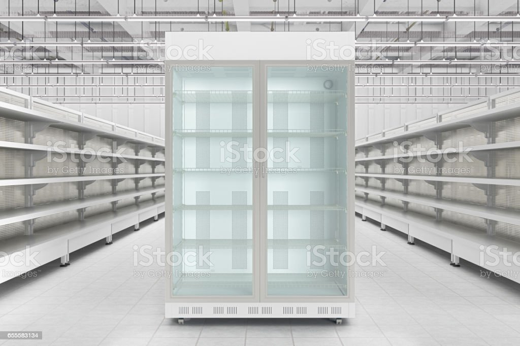 Store interior with empty refrigerator display. stock photo