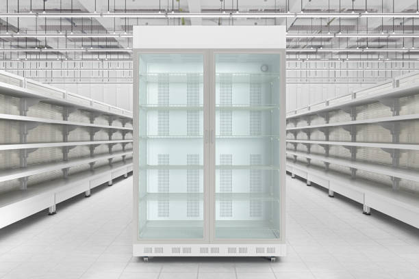 Store interior with empty refrigerator display. stock photo