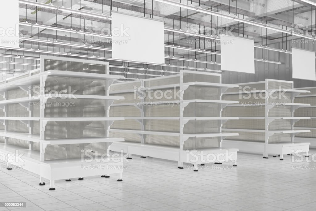 Superb Store Interior With Empty Supermarket Shelves Stock Photo Download Image Now Home Remodeling Inspirations Genioncuboardxyz