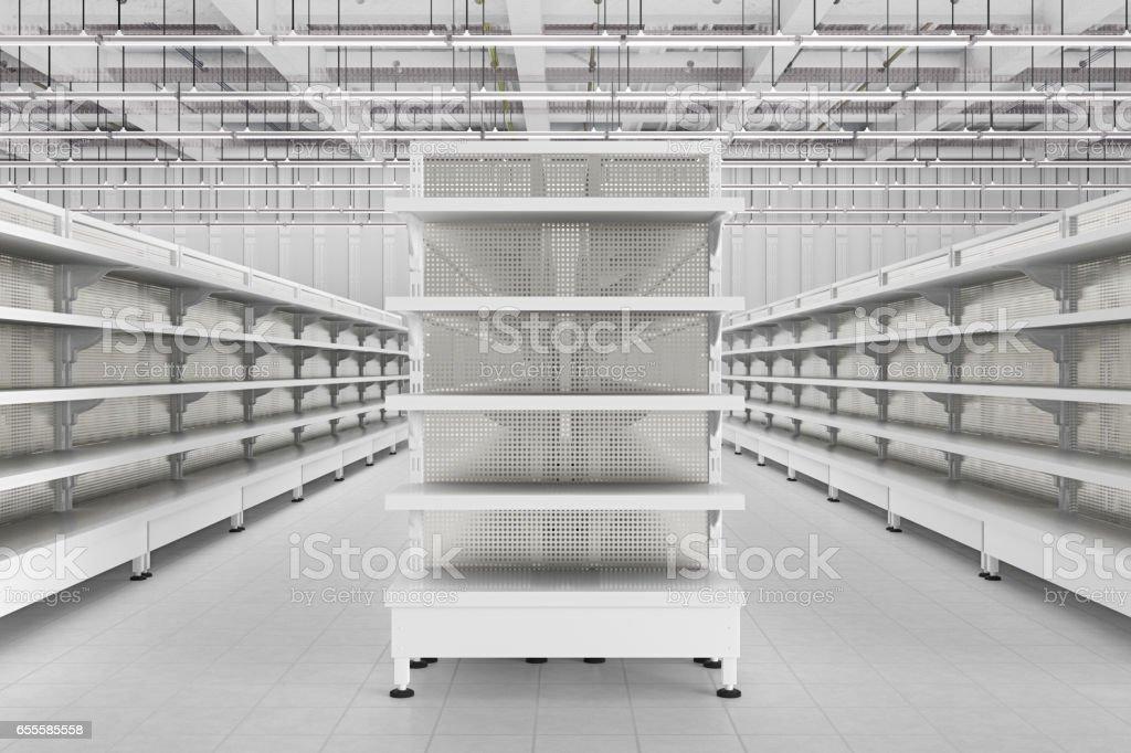 Store interior with empty supermarket shelves. stock photo