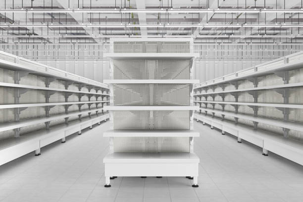 store interior with empty supermarket shelves. - retail display stock photos and pictures