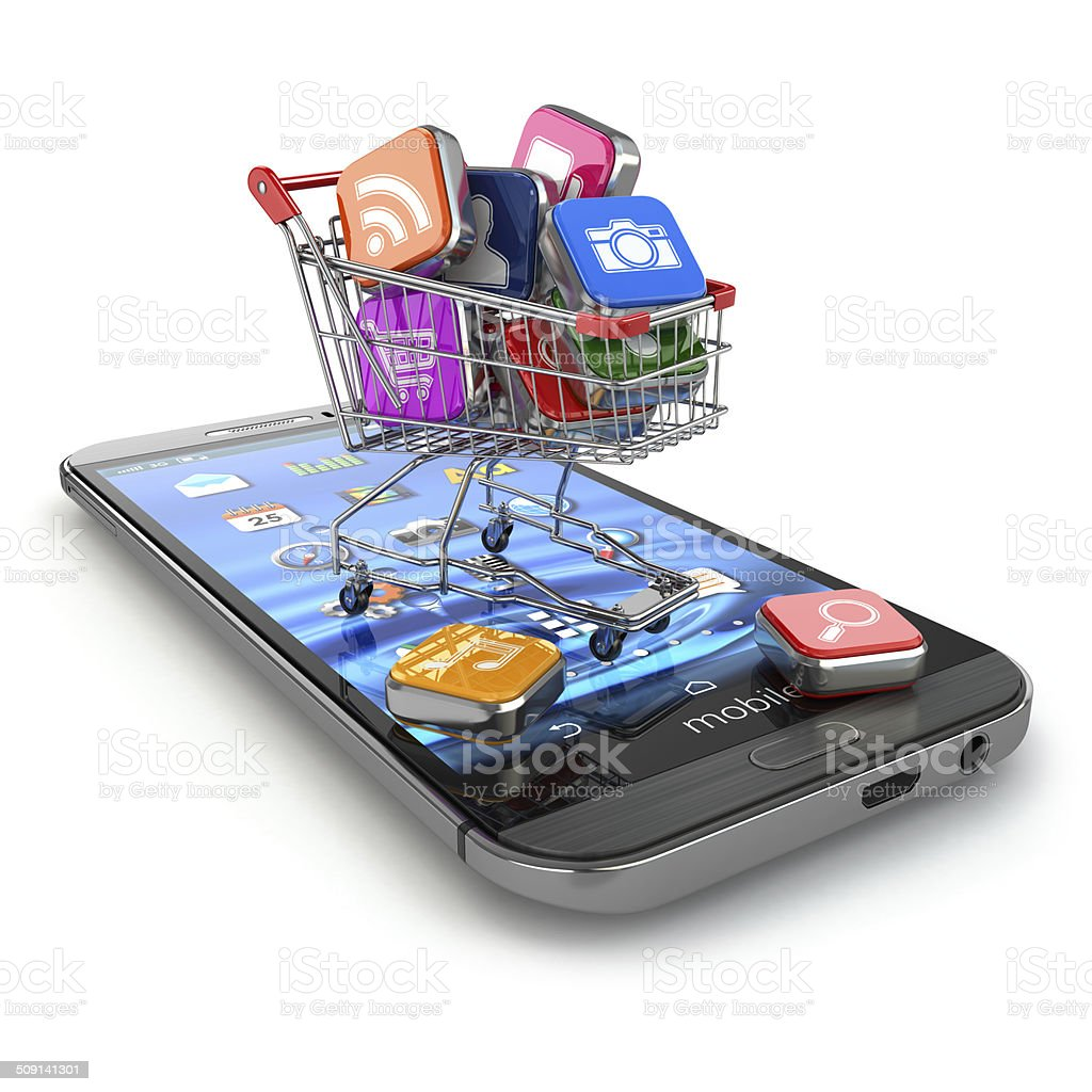 Store of mobile software. Smartphone apps icons in shopping cart stock photo