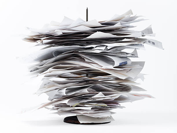 store receipts on spindle - receipt stock photos and pictures