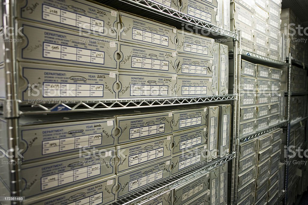 Store room full of boxed histology slides royalty-free stock photo