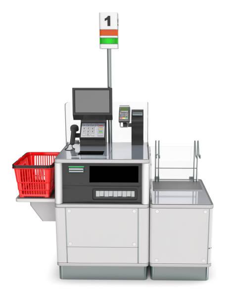 Store self checkout desk. stock photo
