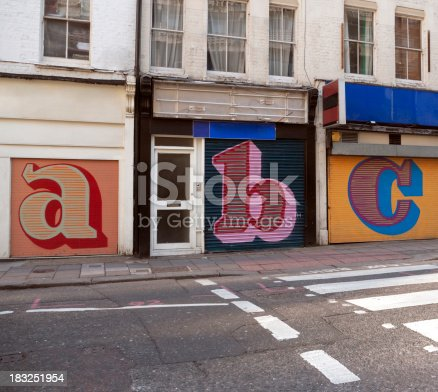istock Store shutters letters 183251954