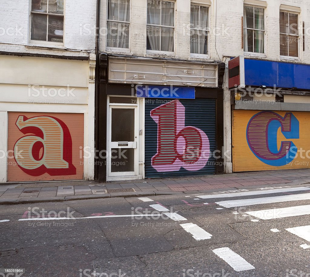 Store shutters letters stock photo