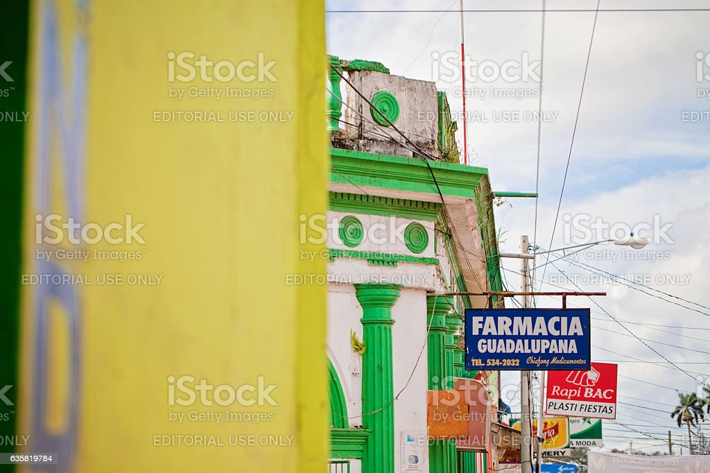 Store signs in Nicaragua stock photo