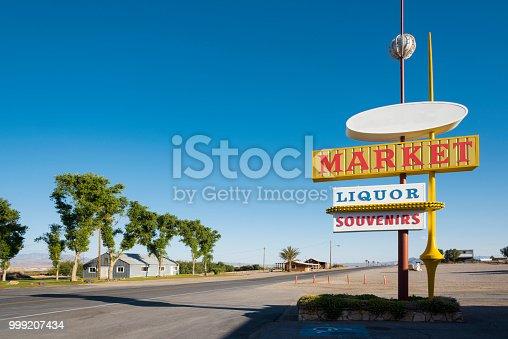 Liquor, market, souvenirs store signs