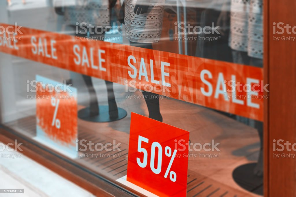 store window at sales stock photo