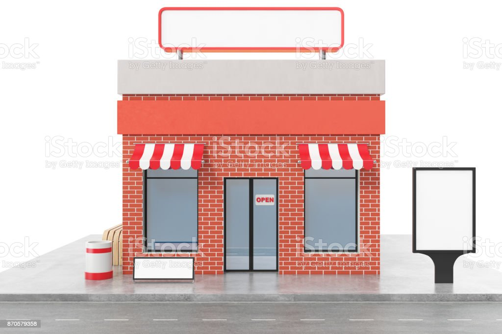 Store with copy space board isolated on white background. Modern shop...