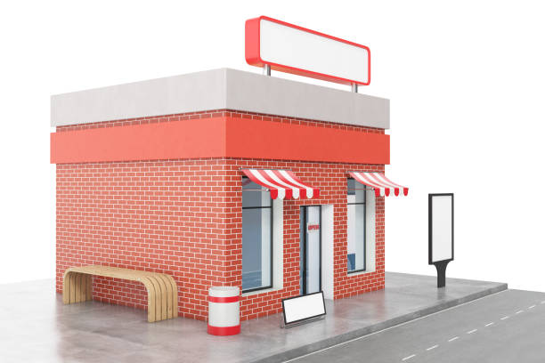 Store with copy space board isolated on white background. Modern shop buildings, store facades. Exterior market. Exterior facade store building, 3D rendering stock photo