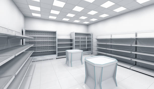 Store with empty shelves and places for advertising stock photo