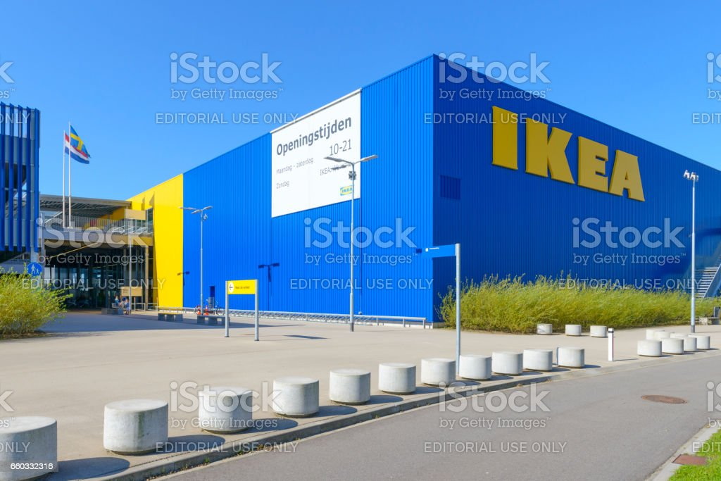 IKEA store with the IKEA name in yellow and blue stock photo