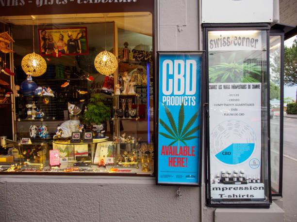 Storefront advertises Cannabis products, Montreux, Switzerland stock photo
