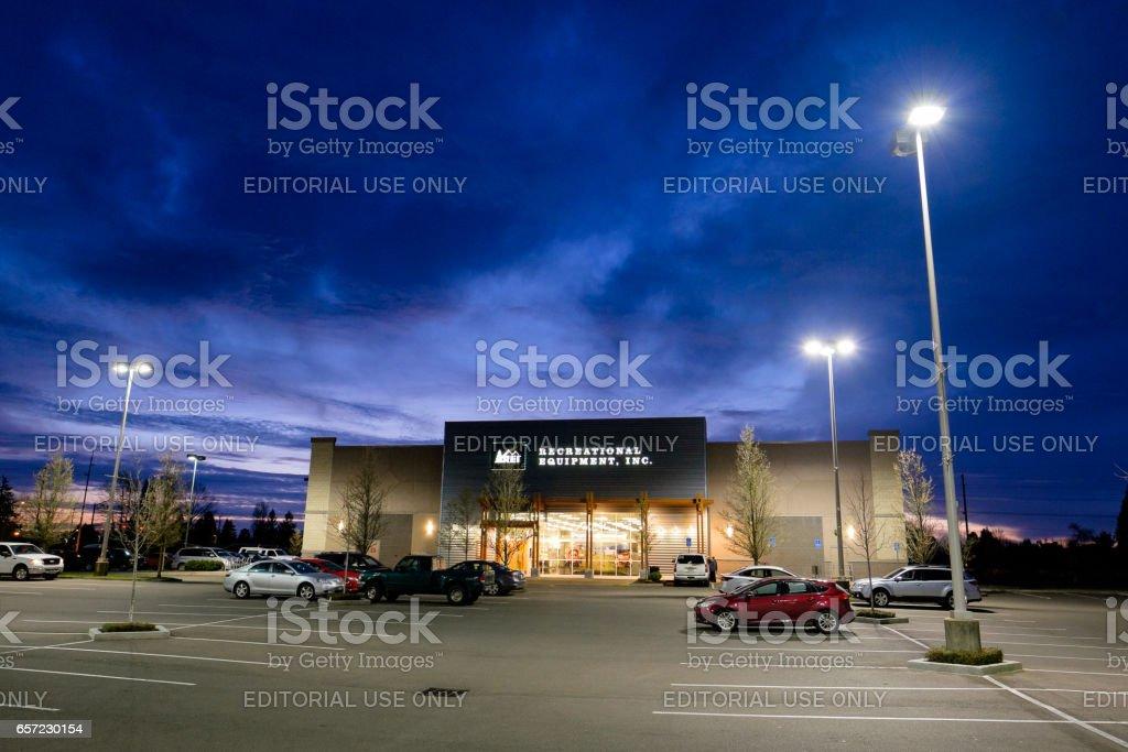 REI Storefront at Dusk in Salem Oregon stock photo